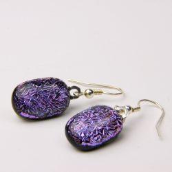 Dichroic glass shepherd hook earrings 005