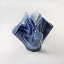 Glass Drape Vase Spectrum Opalart Blackberry Blue 1