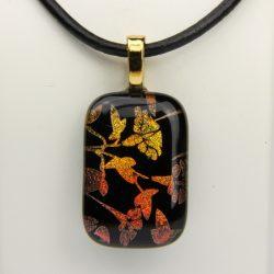 Glass pendant golden flower 5