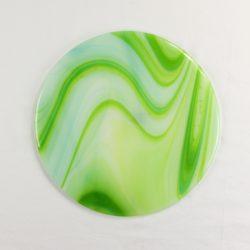 Glass Cheese Platter Spectrum Glass Opalart Sour Apple 1