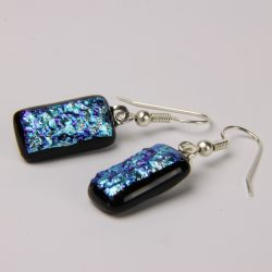 Dichroic glass shepherd hook earrings 001