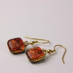 Dichroic glass shepherd hook earrings 011