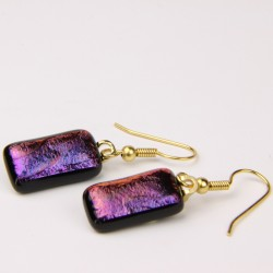 Dichroic glass shepherd hook earrings 013
