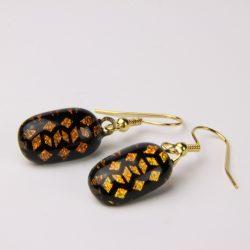 Dichroic glass shepherd hook earrings 014