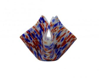 Blue and red glass vase