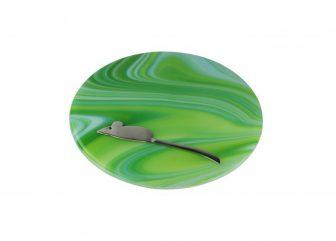 Green glass cheese platter